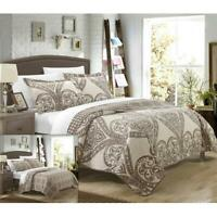 Chic Home QS3410-US Pastola Reversible Printed Quilt Quilt Set - Beige - King...