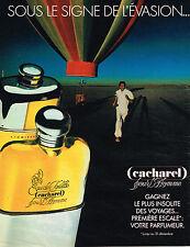 PUBLICITE ADVERTISING 064  1984  CACHAREL   parfum pour homme