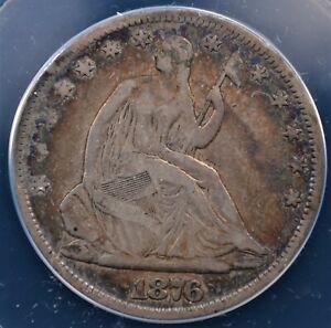 1876 SEATED HALF DOLLAR ANACS FINE 12 NEAT OLDE TYME ALBUM  TONE IN TURQUOISE
