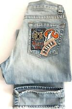 RUSTY NEAL Denim Men Arizona Jeans Stone Acid Wash Tiger Patch Embroidery 31 L30