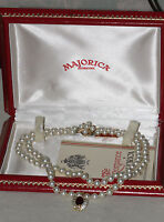 MAJORICA PEARLS GOLD TONE FLOWER CLASP DOUBLE STRAND PEARL NECKLACE PENDANT BOX