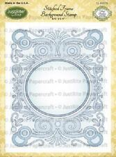 JUSTRITE CLING Stamps STITCHED FRAME BACKGROUND STAMP CL-02079