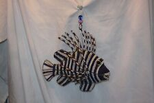 Lion Fish Glass Beads Blue & White  Beaded Wire Hanging Striped Beachhouse Decor