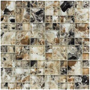 Modern French Pattern Brown Glossy Glass Mosaic Backsplash Tile Kitchen MTO0111
