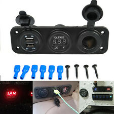 Hot 12V Black 3in1 Car Triple USB Charger Port + Voltmeter + Cigarette Lighter