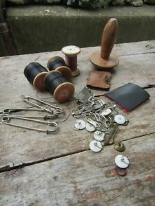 Vintage Mixed Lot Sewing Items Thread Bobbins Clips Pins Cases