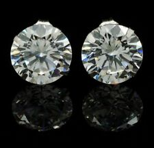 8Ct Created Diamond Round Cut 14K White Gold Round Cut Push Back Stud Earrings