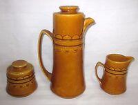 HOMER LAUGHLIN GRENADA GLAZED POTTERY SET OF 3 COFFEE TEA POT CREAMER SUGAR BOWL