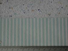 Pastelltürkis-weiß gestreifte  TAPETE,für PUPPENSTUBE Bogen:30x53cm
