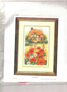 """Anchor Thatched Cottage & Garden Counted Cross Stitch Kit Flowers 9"""" x 5"""""""