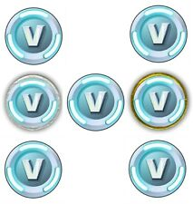 "30 Fortnite V Bucks 1.5"" Round Labels Sticker for Cupcake Topper Chocolate Coins"