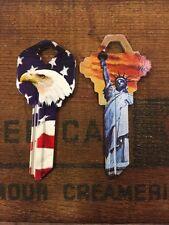 Kwikset House Key Blank Lot Of 2 USA Flag American Eagle Statue Of Liberty
