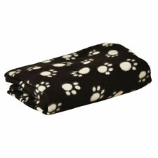 Large Black Soft Pet Blanket with White Paw Print Design - 145cm x 120cm approx.