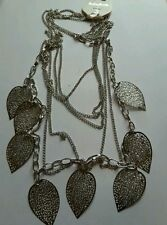 Silver tone leaf multi layered necklace
