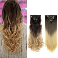 US Full Head Clip in Hair Extensions 8PCS 18 Clips Real Natural as Human Ombre