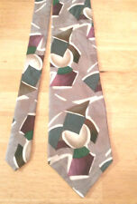 Men's Burma Bibas Gray Multi-Color 100% Silk Geometric Print Tie CLASSIC NeckTie
