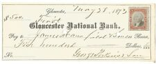 1873 FIRST NATIONAL BANK GLOUCESTER $500-FREE USA SHIP-GEORGE PERKINS & SONS