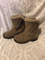 Sorel Womens Water Fall Tan Suede Waterproof Fleece Lined Side Zip Boots Size 7