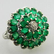 Sehr schöner 585er Weissgold Ring ringsrum voll mit Smaragd & Diamanten  - V191