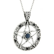"Pentacle Pentagram Star Pewter Pendant with 20"" Choker Necklace"