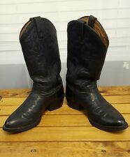 Tony Lama Mens 3R Black RANCHIN ROPIN RIDIN WESTERN SZ 8 D LEATHER Boots RR4002