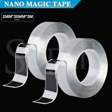 2× 3m Double-Sided Nano Magic Tape Clear Adhesive Washable Reusable Traceless