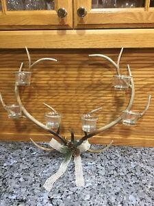 Deer Antler Tealight Candle Holder Wall Sconce. NEW