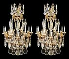 Pair of Louis XV Style Bronze & Crystal Chandeliers