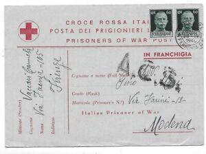 Croce Rossa Italiana - Posta dei prigionieri. Storia postale 28/5/1945.
