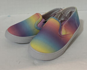Swiggles Size 5 Toddler Girls Slip On Tennis Shoes Sneakers Rainbow Ombre Casual