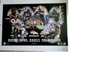 NOS MINT 1998 DENVER BRONCOS Super Bowl FOOTBALL POSTER estate find no pinholes