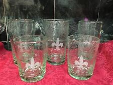 SAINTS NEW ORLEANS HAND BLOWN GREEN GLASSES LOT OF (5)