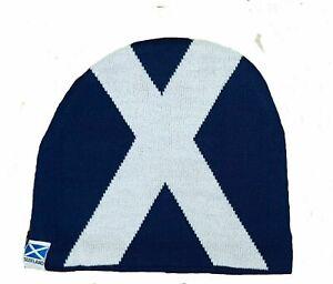 Scotland Flag Beanie Hat Mens Womens OSFA Scottish Saltire Football Team