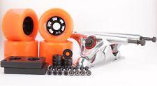 83mm 80a Orange Longboard Wheels and Silver Reverse Kingpin Truck Combo Set
