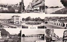 AGEN multivues gare pont canal boulevards place du 14 juillet timbrée 1956