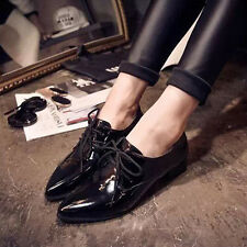 New Vintage Womens Shoes College Girl's Oxfords Flats Lace Up pointy Size US 8.5