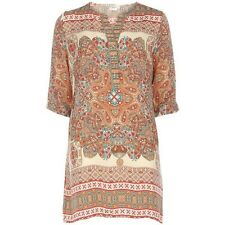 Purchased From Dorothy Perkins Cream Button Up Paisley Print Tunic Dress Size 12