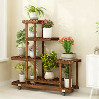 Wooden Flower Stands Plant Display Wood Pot Shelf Storage Rack 7 Pots 4 Wheels