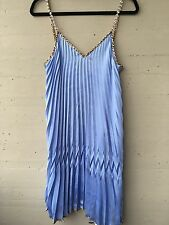 NWT Just Cavalli Blue Pleated & Animal Print Rain Stone Straps  Dress Sz 40 S M