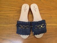 KATE SPADE NEW YORK BRIE OPEN TOE DENIM SANDALS NWOB SIZE 7 $168.00