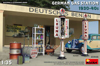 Miniart 35598 1/35 German Gas Station 1930-40s Plastic Model Kit