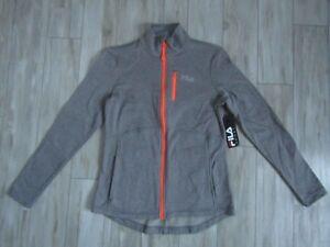FILA Sport Gray & Orange Athletic Track Full Zip Jacket Size Small NWT