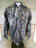 WOOLRICH Men shirt CAMOUFLAGE long sleeve pit to pit 23 Medium Hunter mesh lined