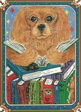 Joy of Reading Ruby Cavalier King Charles Spaniel blank note card