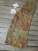 CITRON Santa Monica Multi-Color Budda Palazzo 100% Silk Pants Women's Medium