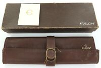 .VINTAGE ELGIN MENS WATCH DISPLAY CASE + LEATHER STORAGE POUCH + BOOKLET.