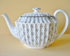 SPODE GREY PLATINUM FLEUR DE LIS TEAPOT SPODE BONE CHINA FRENCH WHITE WITH GREY