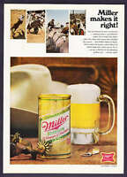 1968 Western Rodeo Theme photo Miller High Life Beer vintage promo print ad
