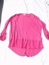 womens clothes peacocks pink t-shirts net detail size 20