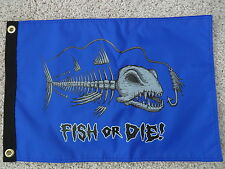 "12""X18"" "" FISH OR DIE"" RED /BLUE PIRATE FLAG DBL SIDED NYLON BOAT  MADE IN USA"